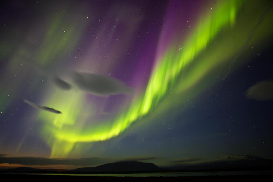 Aurora sobre el volcán Hekla. (david Pérez Hens)